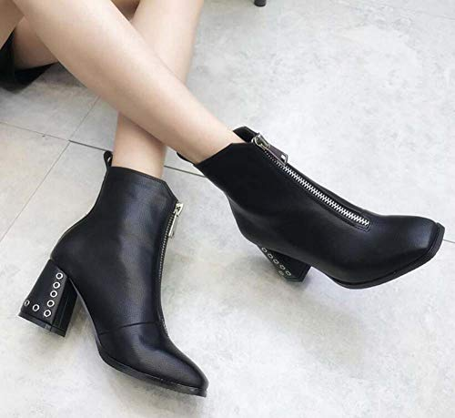 Tacón Ankel 34 Mujeres Botín Dedo Cremallera Corte Zapatos Black 7Cm Botas 40 OL De Martin Cuadrado Tamaño UE Zapatos Pie De del Grueso Vestir WwE4Y1nq