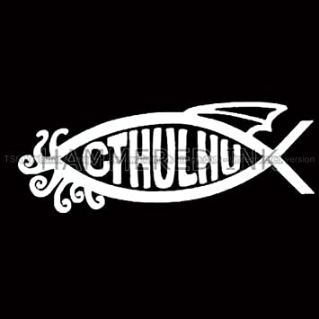 Tribal cthulhu fish die cut vinyl car decal window sticker