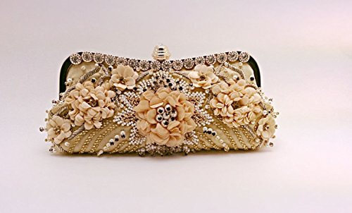 Floral pattern with faux pearl and crystal evening bag by Mazcollection