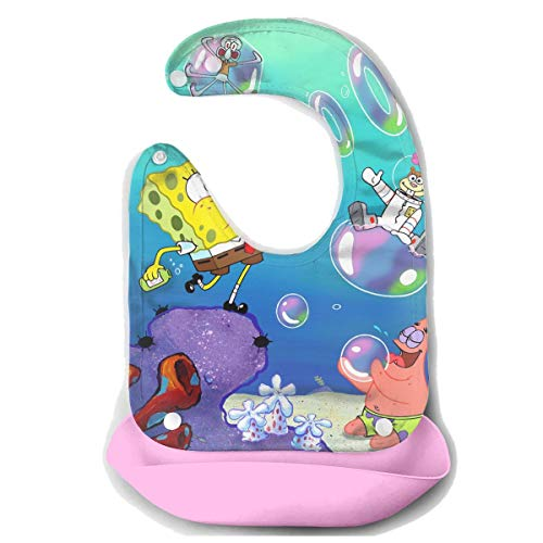 Baby Bib Spongebob Squarepants Waterproof Feeding Bibs for Babies and Toddlers with Comfort-Fit Fabric Neck Pink ()