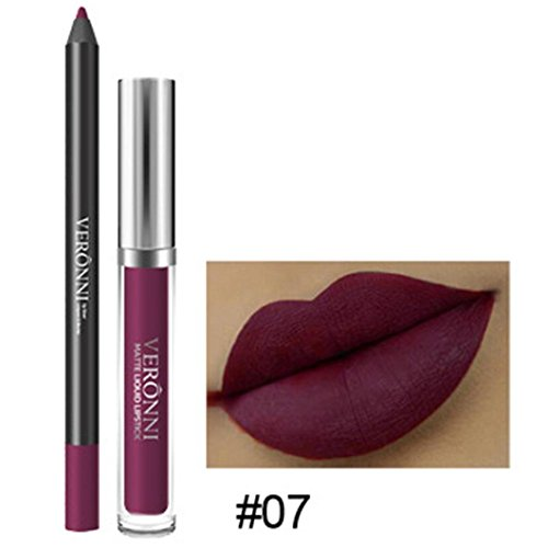 Long Lasting Lipstick Waterproof Matte Liquid Gloss Lip Liner Cosmetics Set