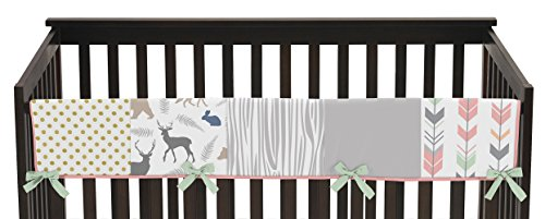 Sweet Jojo Designs Baby Crib Long Rail Guard Wrap Cover Teething Protector for Coral, Mint and Grey Woodsy Girl Bedding Collection by Sweet Jojo Designs
