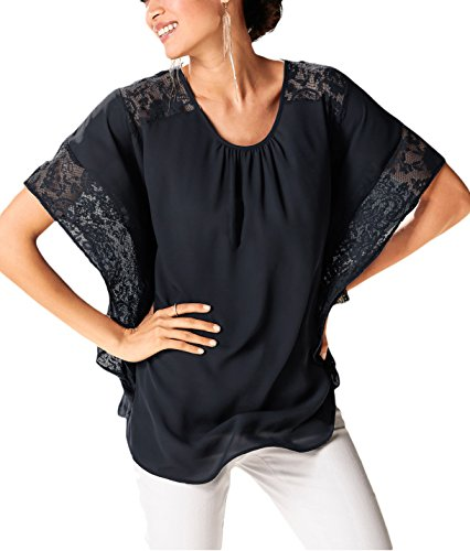 [Gepoetry Women's Lace Stitching Short Batwing Sleeve Oversized Tops Casual Blouse T-Shirt (Medium,] (Bum Shorts Costume)