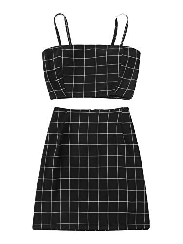 - SheIn Women's Sleeveless Plaid Two Pieces Bodycon Skirt and Crop Cami Top Set Small Black