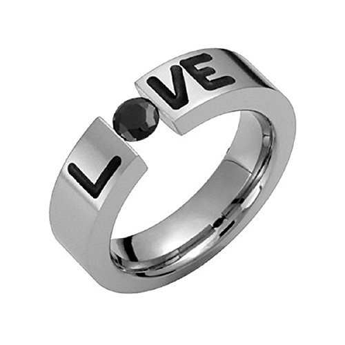 (Alain Raphael Titanium Ring With Black Cubic Zirconia Tension Set Round Cut 5.5mm Wide Wedding Band)