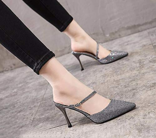 Thirty In Heels Seven Fine Heels Small There Outside Semi Are Slippers Silvery Slippers KPHY Summer Lazy Comfortable Wear Many Heels Baotou Shoes No gRxgd0w