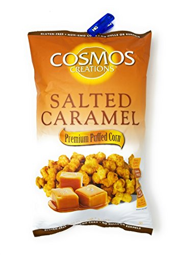 Cosmos Creations 25 Ounce Salted Caramel Puff Corn, Bonus One HG Grocery Bag Clip (Colors Vary), Almost Like PopCorn (Single) ()