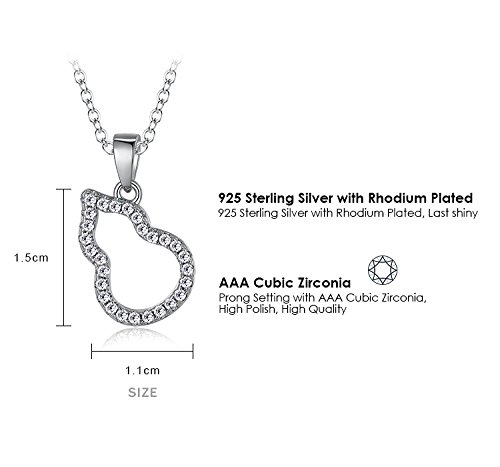 Ashley Jeweller 925 Sterling Silver Gourd Shape Pendant with Cubic Zircon Necklace
