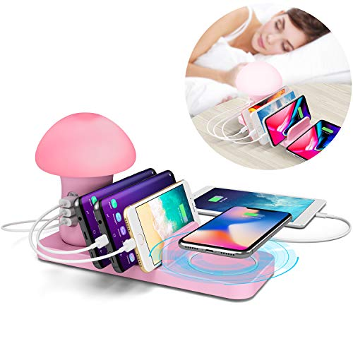 - BTU Fast Wireless Charging Station Organizer for Multiple Devices with Quick Charge QC 3.0 - LED Children Night Light Kids Mushroom Lamp Charging Dock Organizer, 3 USB Port Fast Charger Block