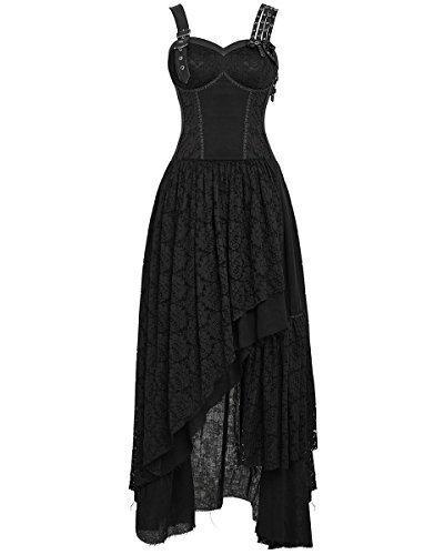 Punk Rave Gótico Steampunk Vestido Encaje Negro Largo VINTAGE Victoriano Boda Vestido Gala - Negro,