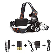 Boruit LED Headlamp Rechargeable Waterproof Head Flashlight Lamp with Cree XM-L T6+2R2