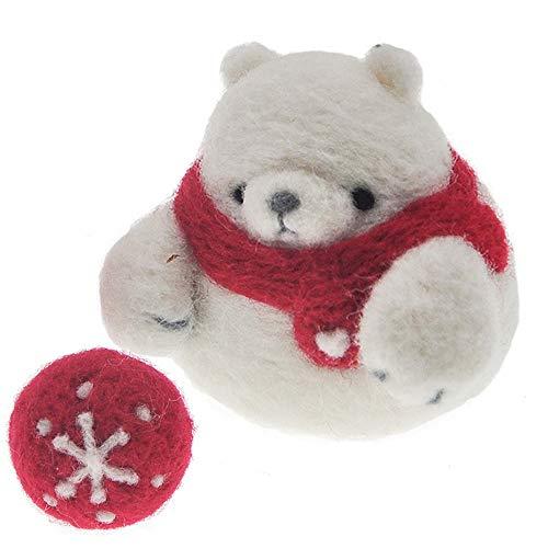 Wool Queen White Bear Needle Felting Kit, Animal Wool Felted Kit, Felting Foam Mat, 2 Needles, Instruction & Videos- Great for Arts & Crafts & Easy for Beginners