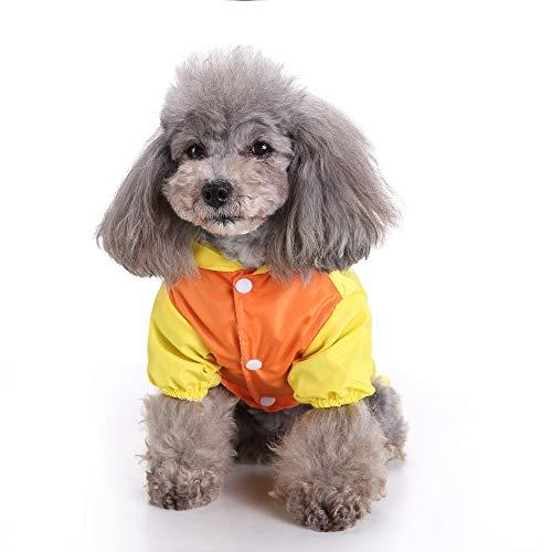 JudyBridal Pet Dog Cartoon Animal Raincoat,Waterproof&Lightweight Dog Fashion Dog Hood Coat Jacket Rain Jacket Yellow