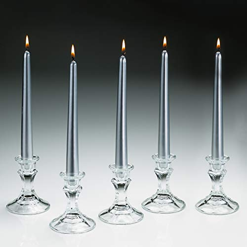 (Light In The Dark Elegant Silver Metallic Taper Candle 10 Inch Tall Burn 7 Hours - Set of 5 Unscented Dinner Candle - Smokeless and Dripless with Metal Finish.)