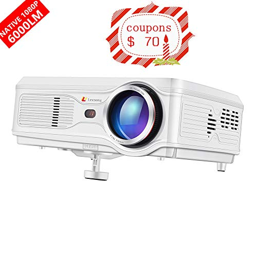 Lexsong HD Video Projector Native 1920×1080P and 300″ Display LED LCD Portable Theater Projectors 6000 Lumens for Home Outdoor Company Compatible with TV Stick, Phone, PS4, HDMI, VGA, TF and USB