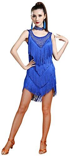 ZX Z&X Women's Sleeveless Rhinestone Embellished Fringe Flapper Latin Dance Dress Medium Royal Blue