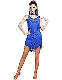 Z&X Women's Sleeveless Rhinestone Embellished Fringe Flapper Latin Dance Dress Medium Royal Blue