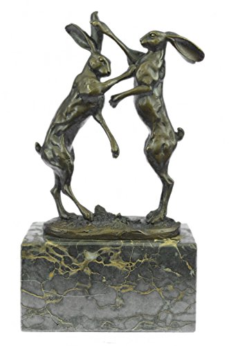 Handmade European Bronze Sculpture Signed Original Vienna Two Hares Boxing Art Deco Figure Bronze Statue -AL-323-Decor Collectible Gift
