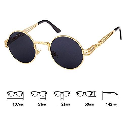 femmes Vintage HipHop Classique hommes Punk Steampunk de C8 hibote lunettes soleil lunettes soleil pour Métal de w8fOXc6qq