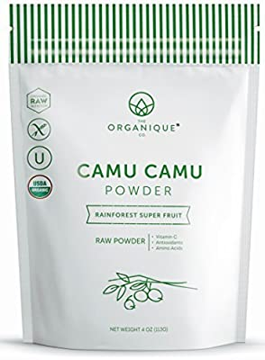 The Organique Co. Organic Raw Camu Camu Superfood Powder. Natural Ingredients - Vitamin C, Minerals, Antioxidants, Amino Acids, Real Fruit. Kosher, Vegan, Gluten Free, Non-GMO, Nutritional
