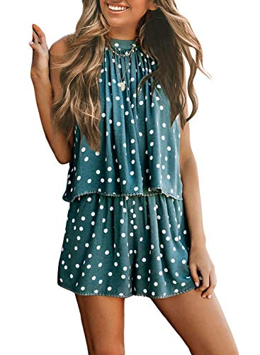 - Asvivid Womens Romper Sleeveless Classic Polka Dot Print Playsuit Summer High Neck Chiffon Beach Short Jumpsuit S Green