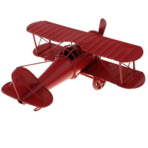 Fityle Mini Metal Decorative Airplane Model, Iron Aircraft Biplane Toy with Rolling Wheels and Propeller Craft, Home Decoration - Red