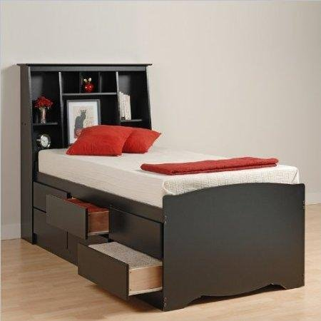 Sonoma Black Twin Bookcase Headboard (Prepac Black Sonoma Tall Twin Bookcase Platform Storage)