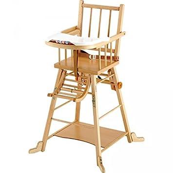 Chaise haute en bois transformable Combelle hetre vernis Bio ...