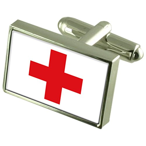 Croix Rouge Drapeau en Argent Sterling gravé en manchette boîte personnalisée