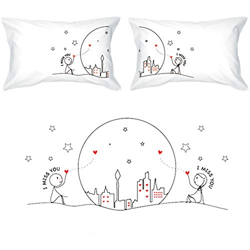 BoldLoft Miss Us Together Couples Pillowcases|Long Distance Relationships Gifts for Girlfriend,Boyfriend|Long Distance Gifts for Couples|LDR Gifts for Him,Her for Couples (Best Message For Long Distance Relationship)