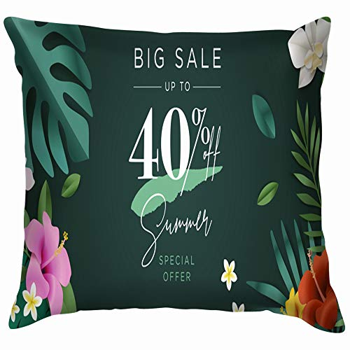 Summer Sale Mobile Social Business Finance Spa Cotton Linen Home Decorative Throw Pillow Case Cushion Cover for Sofa Couch 18X18 Inch ()