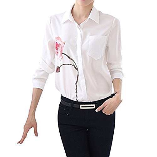 Hengzhi Women Rose Flower Printed Business Blouse Long Sleeve Button Down Shirts