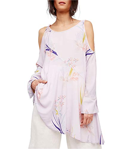- Free People Womens Printed Open Shoulder Tunic Dress Purple M