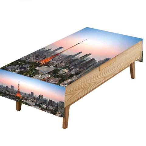 PINAFORE Indoor/Outdoor Spillproof Tablecloth Urban Tokyo City Skyline at A Tower and The Skyscrapers Print Grey and Sky Blue Great for Buffet Table, Parties,Wedding & More W50 x L80 INCH -