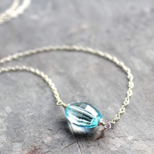 (Blue Topaz Necklace Sterling Silver Single Stone Chunky Faceted Barrel)