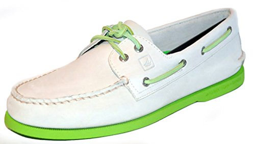 Sperry Top-Sider Men's A/O 2-Eye Neon Boat Shoe (Off White/Neon Green, 12)