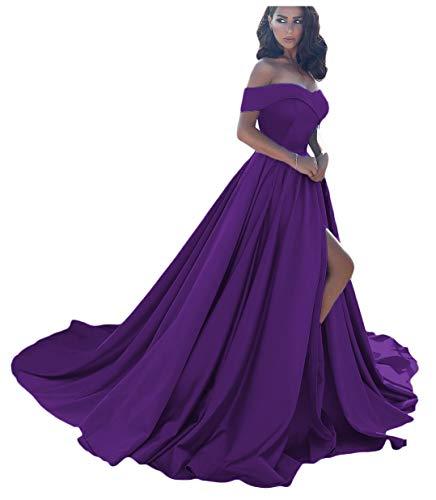 (Dressesonline Women's Off Shoulder A Line Split Prom Evening Dresses Long Formal Gown US16)