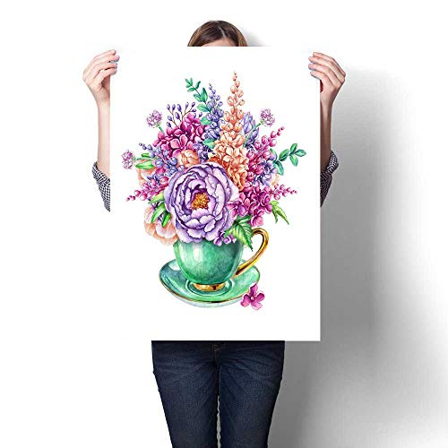 Anshesix Canvas Wall Art Watercolor Illustration Easter Floral Background Invitation Greeting Card Wild Flowers Bouquet in Tea Cup Frameless Canvas Texture decoration32 -