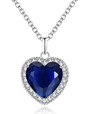 Titanic Heart of the Ocean Necklace, AILUOR Silver Necklace Pendants Jewelry Mother's Day Gift