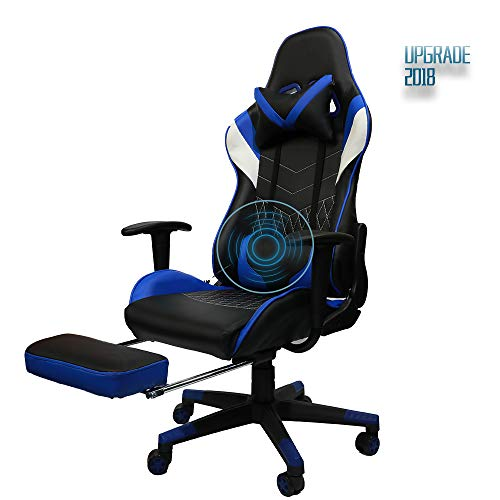 (Insoria Gaming Chair High Back Racing Chair, Ergonomic Swivel Computer Chair Executive Leather Desk Chair with Footrest, Bucket Seat and Massage Lumbar Support (Blue))