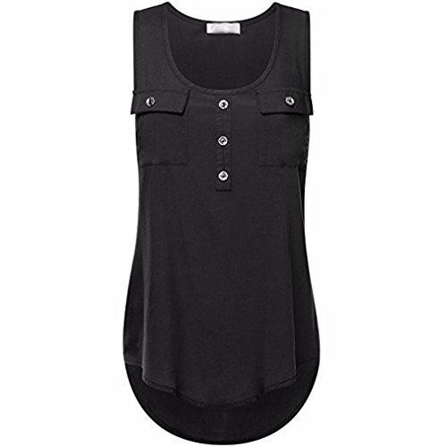 FEITONG Women's Fashion Button Pocket Sleeveless Shirt Ladies Sexy Irregular Hem Tank Tops Plus Size Vests, S-5XL (Plus Round Toilet)