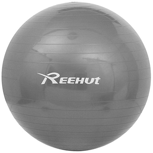 Reehut Anti-Burst Core Exercise Ball for Yoga, Balance, Workout, Fitness w/ Pump(Grey, 85cm)