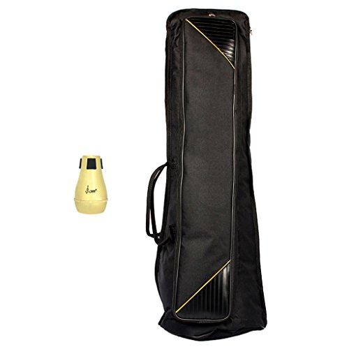 Jili Online Black Tenor Trombone Protection Bag and Golden Straight Mute Sourdine Set Brass Accessory by Jili Online