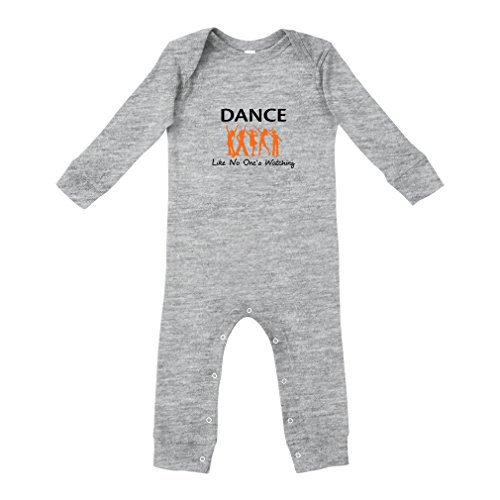 Cute Rascals Dance Like No One's Watching Cotton Long Sleeve Envelope Neck Unisex Baby Legged Long Rib Coverall Bodysuit - Oxford Gray, 6 Months - Ringspun Dance T-shirt