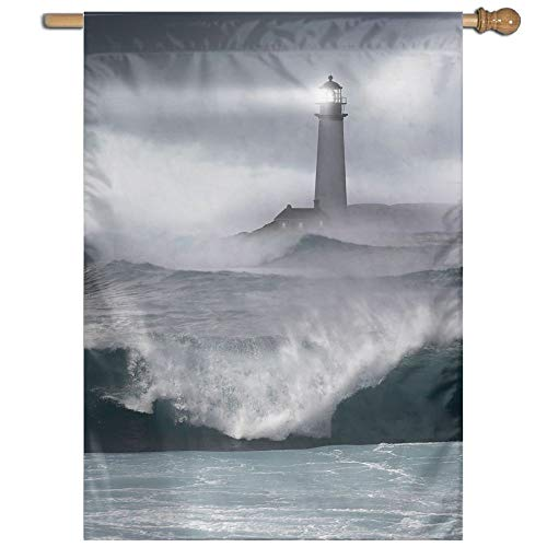 - YUANSHAN Single Print Home Garden Flag Lighthouse Storm Polyester Indoor/Outdoor Wall Banners Decorative Flag 27