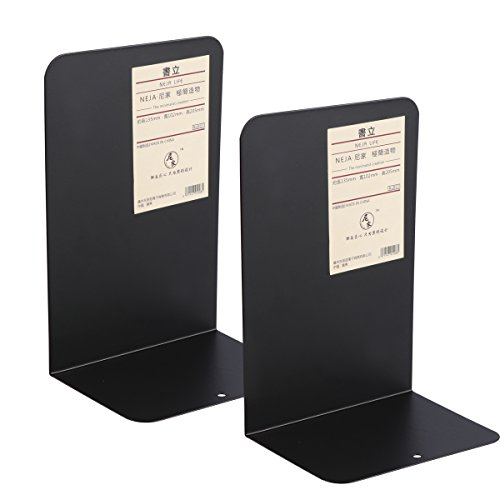 WINOMO 2 Pack Metal Bookend Heavy Duty Modern Design Books Holder with Non-Skid Base (Black) by WINOMO