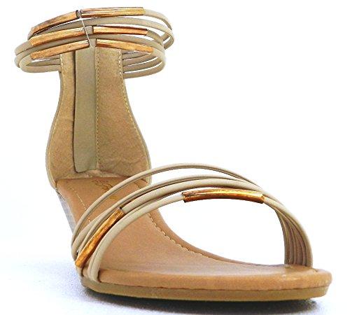 Women Wedges Strappy Back Zipper Open Toe Gladiators Dress Pump Shoes Beige lhnF2XT