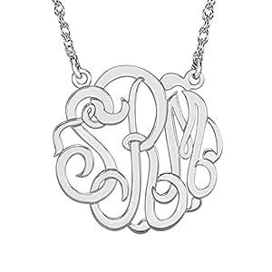 Elegant Sterling Silver Rhodium Plated 40mm Monogram Necklace