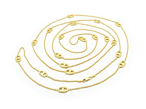 Fronay Collection 14K Yellow Gold Plated Silver Mariner Link Station Chain for Women, Layering Designer Jewelry