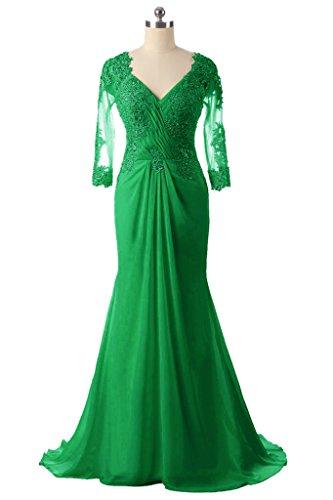Frauen HWAN V Perlen der lange Spitze Kleid Ausschnitt Abendkleider Braut Gr¨¹n Mutter Mermaid OBB6qd